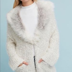 Anthropologie Faux Fur-Collared Cardigan XS